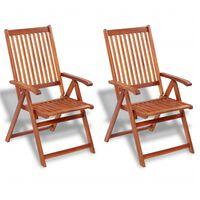vidaXL Vrtne sklopive stolice 2 kom masivno bagremovo drvo smeđe