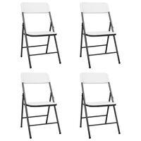 vidaXL Sklopive vrtne stolice 4 kom HDPE bijele