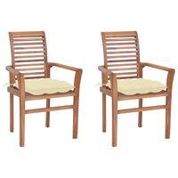 vidaXL Blagovaonske stolice s krem bijelim jastucima 2 kom od tikovine