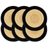 vidaXL Podmetači 6 kom prirodna i crna boja 38 cm od jute i pamuka