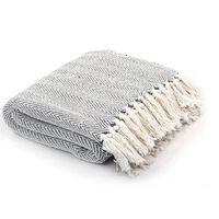 vidaXL Pamučni pokrivač s uzorkom riblje kosti 220x250 cm sivi
