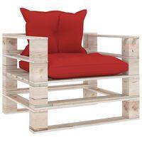 vidaXL Vrtna sofa od paleta od borovine s crvenim jastucima