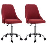 vidaXL Uredske stolice od tkanine s kotačima 2 kom crvena boja vina