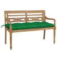 vidaXL Klupa Batavia sa zelenim jastukom 120 cm od masivne tikovine