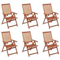 vidaXL Sklopive vrtne stolice 6 kom od masivnog bagremovog drva