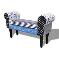 Klupa s Cvjetnim Uzorkom u Tradicionalnom Stilu Patchwork Plavo-Bijela