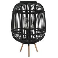 vidaXL Samostojeći svijećnjak od bambusa crni