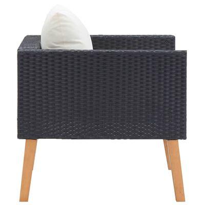 vidaXL Vrtna fotelja od poliratana s jastucima crna