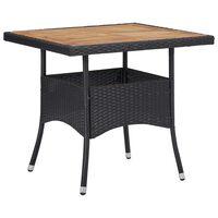 vidaXL Vrtni blagovaonski stol od poliratana i bagremovog drva crni
