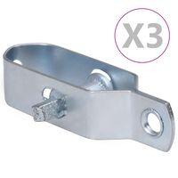 vidaXL Zatezači za žicu za ogradu 3 kom 90 mm čelični srebrni
