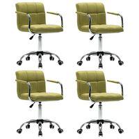 vidaXL Okretne blagovaonske stolice od tkanine 4 kom zelene