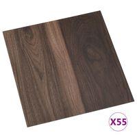 vidaXL Samoljepljive podne obloge 55 kom PVC 5,11 m² tamnosmeđe