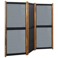 vidaXL Sobna pregrada s 3 panela crna 210 x 170 cm
