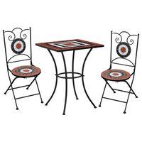 vidaXL 3-dijelni bistro set s keramičkim pločicama boja cigle i bijeli