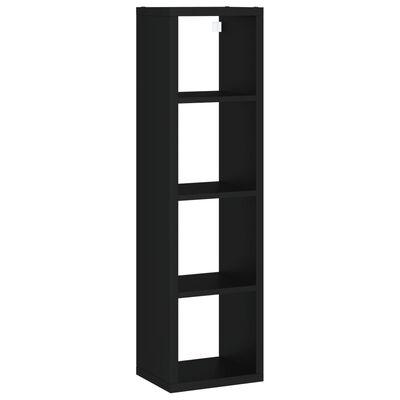 vidaXL Kockasta zidna polica crna 37 x 29,5 x 134,5 cm MDF