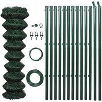 vidaXL Žičana ograda sa stupovima čelična 1 x 15 m zelena