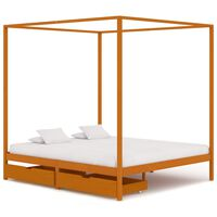 vidaXL Okvir za krevet s baldahinom i 2 ladice 160 x 200 cm borovina