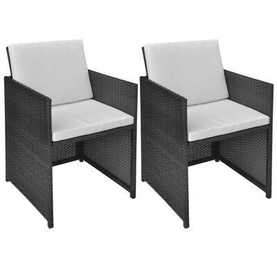 vidaXL Vrtne stolice 2 kom s jastucima poliratan crne