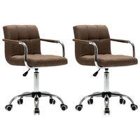 vidaXL Okretne blagovaonske stolice od tkanine 2 kom smeđe