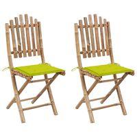 vidaXL Folding Garden Chairs 2 pcs with Cushions Bamboo (41498+314026)