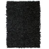 vidaXL Čupavi tepih od prave kože 120x170 cm crni