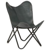vidaXL Leptir-stolica od prave kože siva dječja veličina