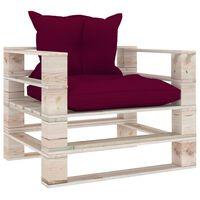 vidaXL Vrtna sofa od paleta od borovine s jastucima crvene boje vina