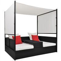vidaXL Vrtni krevet s baldahinom crni 190 x 130 cm poliratan