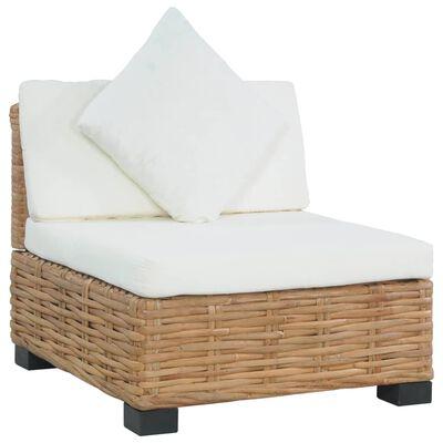 vidaXL Sofa bez naslona za ruke s jastucima od prirodnog ratana