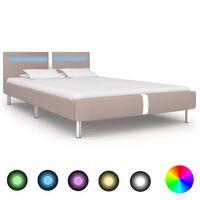 vidaXL Okvir za krevet od umjetne kože LED boja cappuccina 140x200 cm