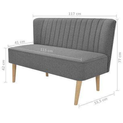 vidaXL Kauč Tkanina 117x55,5x77 cm Svijetlo sivi