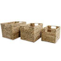 vidaXL Set košara za pohranu od vodenog zumbula 3 kom