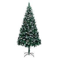 vidaXL Umjetno božićno drvce sa šiškama i bijelim snijegom 210 cm