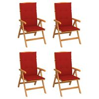 vidaXL Nagibne vrtne stolice s jastucima 4 kom od masivne tikovine