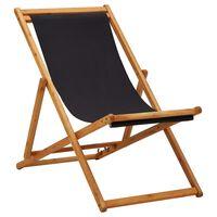 vidaXL Sklopiva stolica za plažu od drva eukaliptusa i tkanine crna