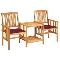 vidaXL Vrtne stolice s čajnim stolićem i jastucima od bagremovog drva
