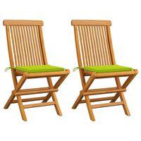 vidaXL Vrtne stolice s jarko zelenim jastucima 2 kom masivna tikovina