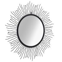 vidaXL Vrtno zidno ogledalo u obliku sunca 80 cm crno