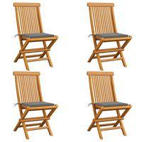 vidaXL Vrtne stolice sa sivim jastucima 4 kom od masivne tikovine