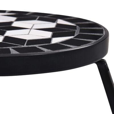 vidaXL Stolići s mozaikom 3 kom crno-bijeli keramički