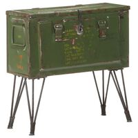 vidaXL Škrinja za pohranu u vojničkom stilu 68 x 24 x 66 cm željezna