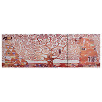 vidaXL Set zidnih slika na platnu s uzorkom stabla žuti 120 x 40 cm