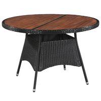 vidaXL Vrtni stol od poliratana i masivnog bagremovog drva 115 x 74 cm