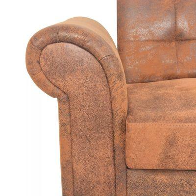 vidaXL Kauč na Razvlačenje s Naslonima za Ruke od Umjetne Brušene Kože Smeđi