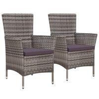 vidaXL Vrtne stolice 2 kom s jastucima poliratan sive