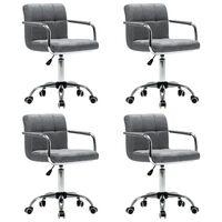 vidaXL Okretne blagovaonske stolice od tkanine 4 kom svjetlosive