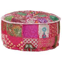 vidaXL Tabure s patchworkom okrugli pamučni 40 x 20 cm ružičasti