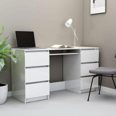 vidaXL Pisaći stol visoki sjaj bijeli 140 x 50 x 77 cm od iverice