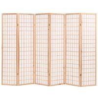 vidaXL Sklopiva sobna pregrada sa 6 panela u japanskom stilu 240x170 cm prirodna