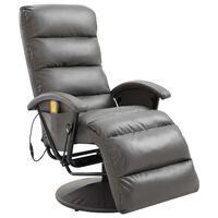 vidaXL Masažna TV fotelja od umjetne kože siva